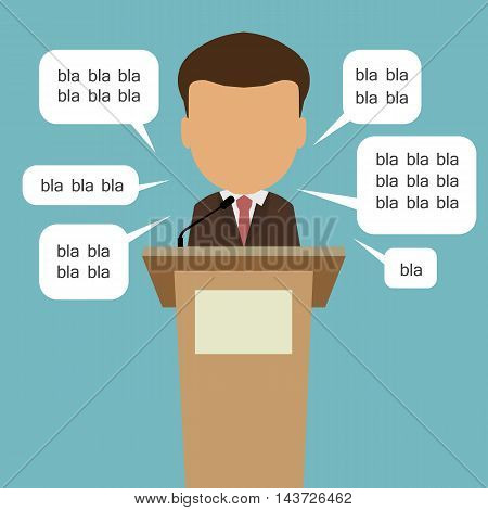 Blah blah politician. Concept of lie on debates or president election. Blank template face with speech bubbles.
