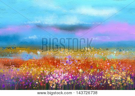 Abstract colorful oil painting landscape background. Semi abstract image of wildflower and field. Yellow and red wildflowers at meadow with blue sky. Spring summer season nature background