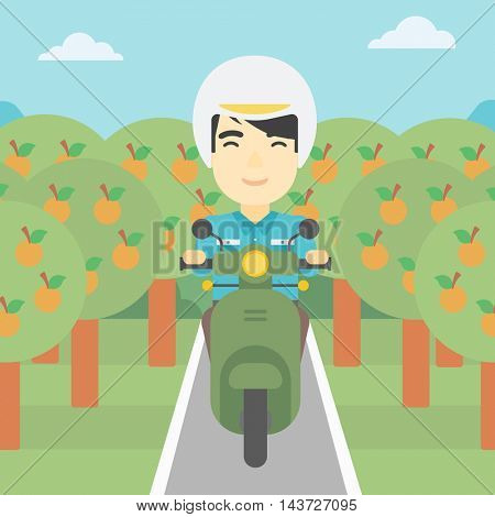 An asian young man riding a scooter on the asphalt road through the orchard. Young man in helmet driving a scooter. Vector flat design illustration. Square layout..