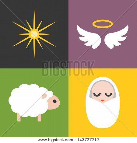 Vector jesus born icons set, flat design