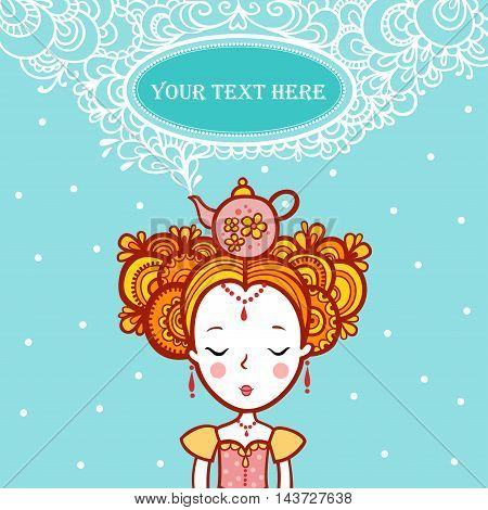 The Princess of the dreams in the clouds.Oval Frame Shape with text. teapot boils. Tea time.
