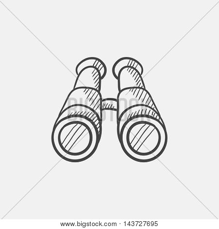 Binoculars sketch icon for web, mobile and infographics. Hand drawn vector isolated icon.