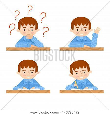 schoolchild vector avatars collection. Back to school background