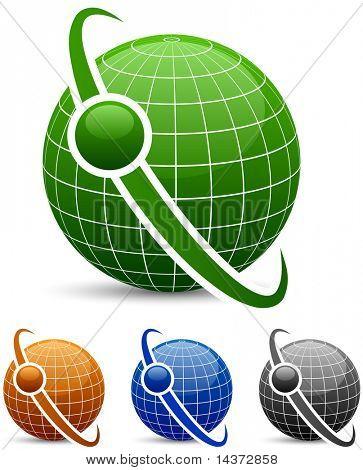 Globe icons with orbit. Vector.