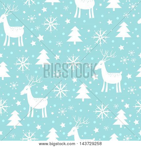 Christmas and New Year background with tree deer and snowflakes in blue colors.