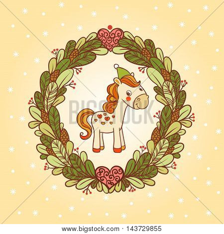Greeting card with a festive wreath and horse.