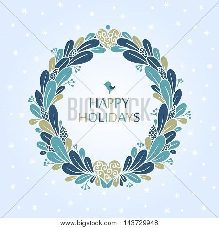 Greeting card with a festive wreath and text.