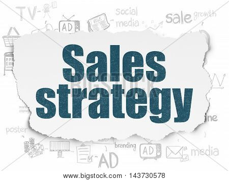 Marketing concept: Painted blue text Sales Strategy on Torn Paper background with Scheme Of Hand Drawn Marketing Icons