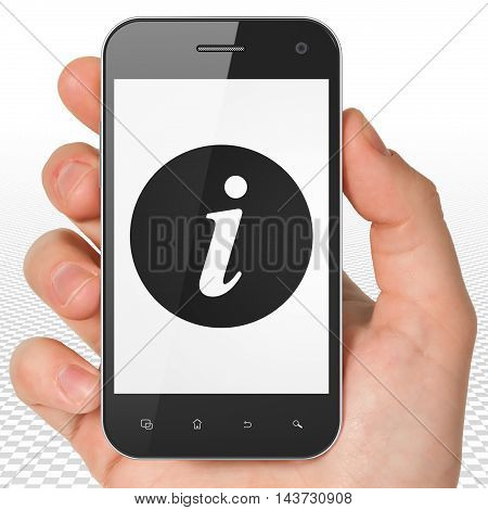 Web design concept: Hand Holding Smartphone with black Information icon on display, 3D rendering
