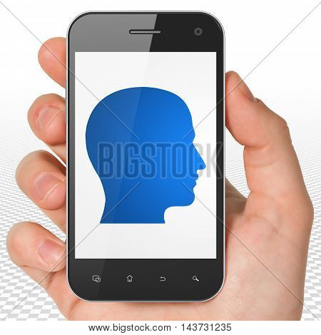 Business concept: Hand Holding Smartphone with blue Head icon on display, 3D rendering