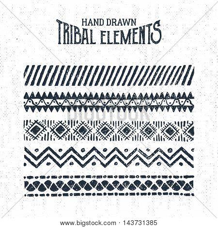 Hand drawn tribal ornaments set. Vector illustration.