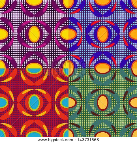 Set of vector seamless patterns of geometric shapes