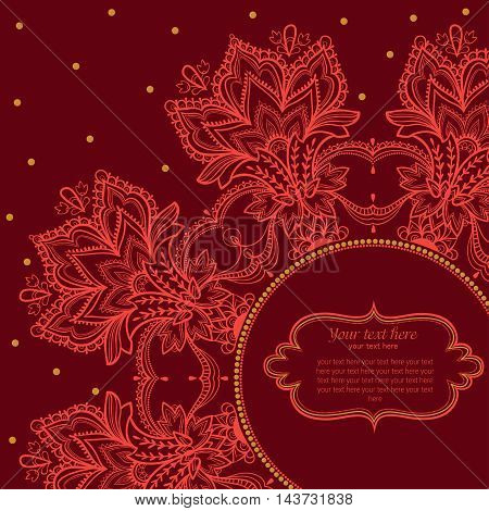 Vintage invitation background with lace ornament. Indian ornament.