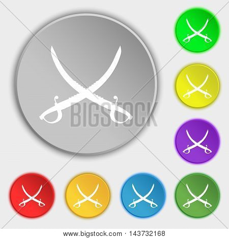 Crossed Saber Icon Sign. Symbol On Eight Flat Buttons. Vector