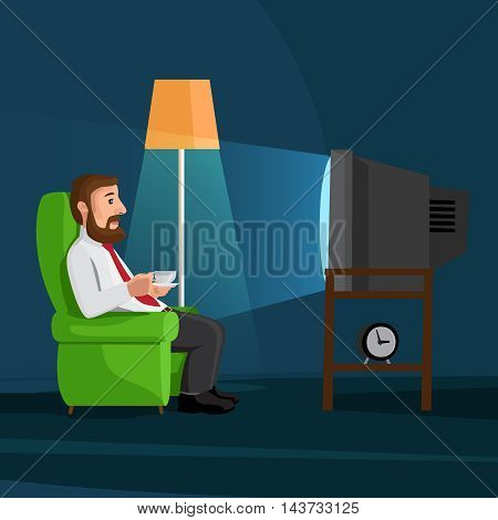 Cartoon man on sofa watches TV with coffee cup vector illustration