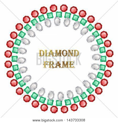 Diamond round frame. Vector jewelry background and place for your text.