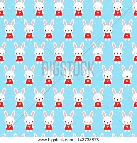 Seamless pattern in cartoon style. Cute childish seamless pattern with bunny.
