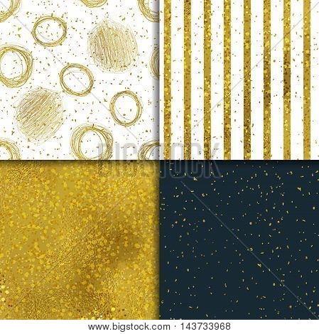 Abstract seamless gold backgrounds. Vector illustration set.
