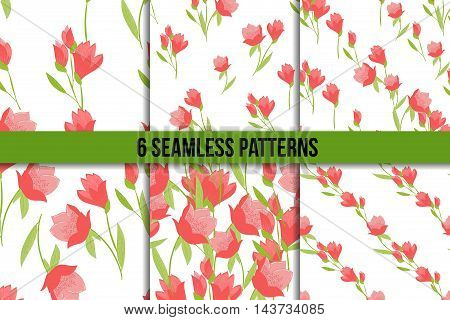 Seamless vector pattern set with Tulips. Six Spring floral backgrounds