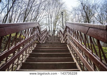 Stair in the sky. Beautiful wooden stairs in the blue sky. Stairs in the park. Stairs through trees.