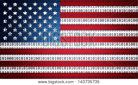 USA flag with binary text - technology concept