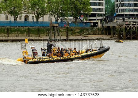 LONDON ENGLAND - JULY 8 2016: Thames Rib Experience speed boat trips along the river Thames.
