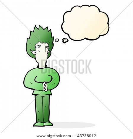cartoon vampire man with thought bubble