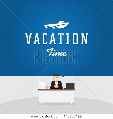 office worker on work station think to vacation on speed boat in a sea
