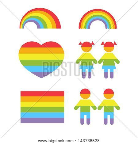Gay pride rainbow heart and gay colors shapes vector set. Lesbian and homosexual, freedom and tolerance illustration