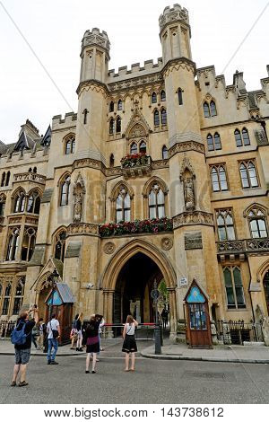 LONDON ENGLAND - JULY 8 2016: The Sanctuary - a medieval building once a safe place for those who were hiding from the law. This building is right next to the Westminster Abbey.