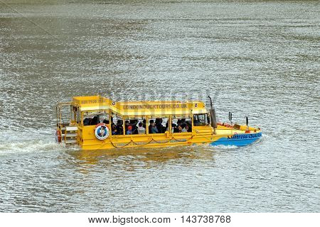 LONDON UK - JULY 8 2016: London Duck Tours amphibious vehicle first used in the D-Day landings in World War Two.