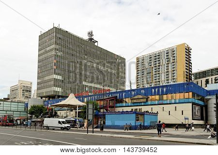 LONDON ENGLAND - JULY 8 2016: Elephant and Castle Shopping Centre with the Hannibal House office block above. Elephant and Castle is a major road junction in the London Borough of Southwark.