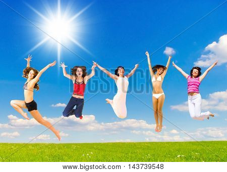 Happy Friends Jumping Together