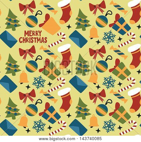 colored bright christmas background. Vector seamless wallpaper