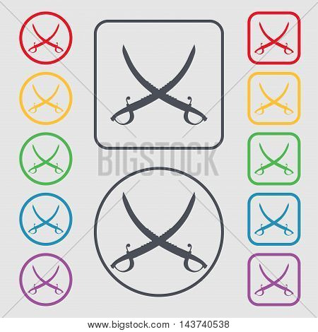 Crossed Saber Icon Sign. Symbol On The Round And Square Buttons With Frame. Vector