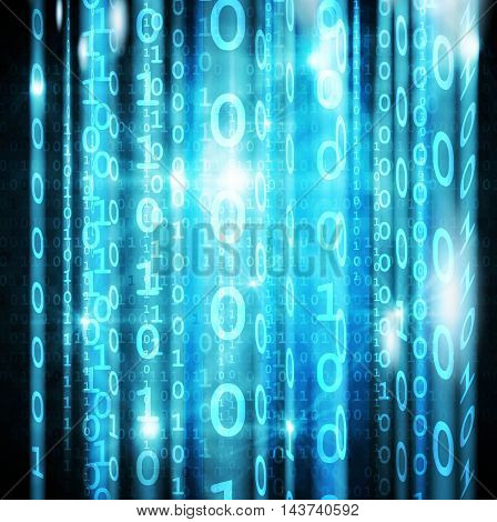 Blue digital falling matrix code on screen Vector.