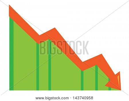 Arrow pointing downwards. Concept of business bankruptcy. Business presentation. Vector flat design illustration isolated on white background.