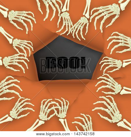Vector Halloween background with skeleton arm for promotional, party, sale offers, invitations design, banners.