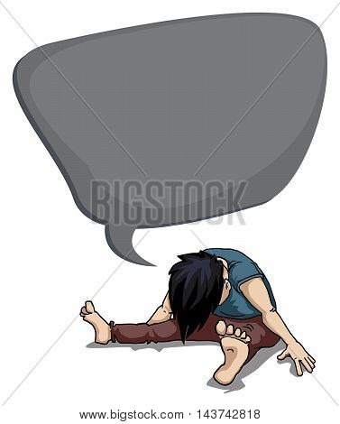 Depressed, young person in despair, with speech bubble, vector illustration