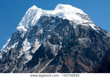 Summit of Mt. Langshisha Ri from Langtang Valley Langtang National Park Rasuwa District Bagmati Nepal.