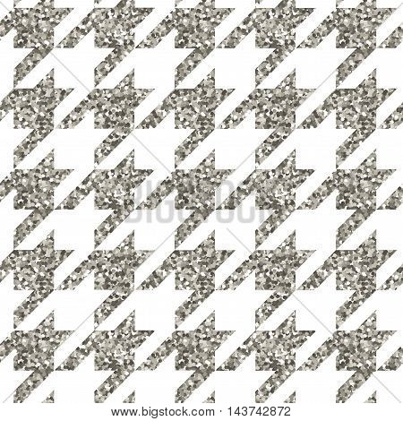 Vector illustration season fashion trend pied-de-poole houndstooth dogtooth puppy tooth for fashion collections: sweater, cardigan, sweatshirt, jewelery, costume in silver metallic color