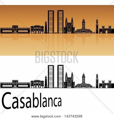 Casablanca skyline in orange background in editable vector file