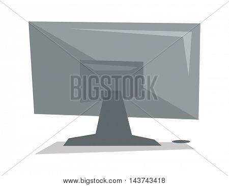 Rear view of computer display vector flat design illustration isolated on white background.