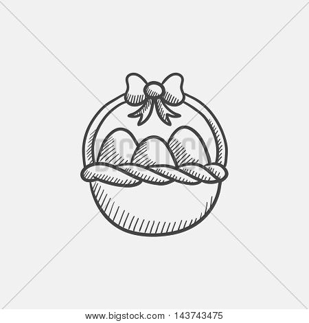Basket full of easter eggs sketch icon for web, mobile and infographics. Hand drawn vector isolated icon.