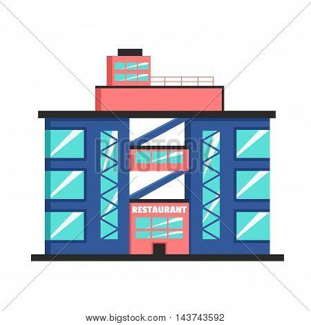 Restaurant building. Flat vector illustration. Constructivism style. Modern architecture. Bright design