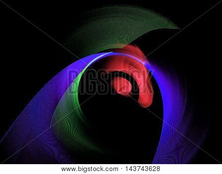 Abstract multicoloured green blue and red swirling fractal on black background