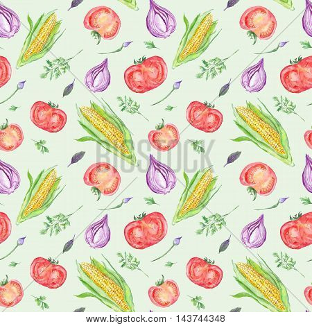 Healthy food hand-painted seamless vegetarian texture for menu and kitchen design with tomato, corn and onion illustrations on green background