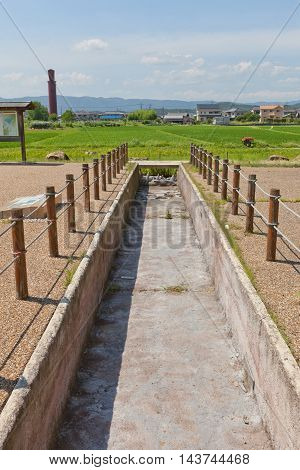 OKAYAMA JAPAN - JULY 20 2016: Remains of canals dug by Toyotomi Hideyoshi in 1582 to flood Bitchu Takamatsu castle. National Historic Site of Japan