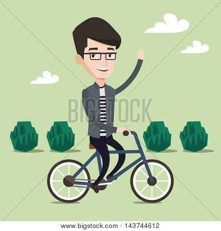 Sportive man riding a bicycle in the park. Cyclist riding bike and waving his hand. Man on a bike outdoors. Healthy lifestyle concept. Vector flat design illustration. Square layout.
