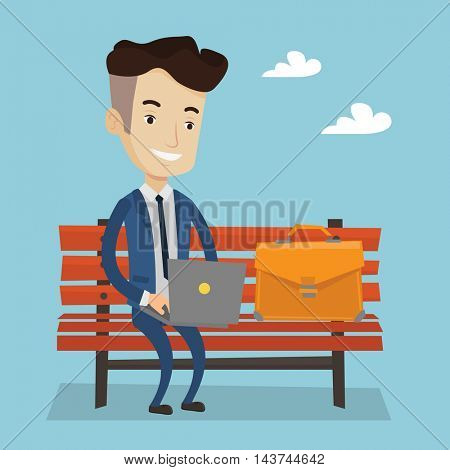 A happy businessman working in the park. Man working on a laptop. Businessman sitting on a bench with laptop. Vector flat design illustration. Square layout.